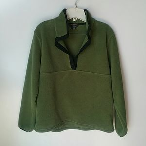 L.L. Bean Olive Green with Black Fleece Pullover